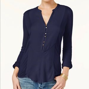 NWT Lucky Brand Mixed Media Roll Tab Top
